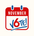 calendar page reminder to vote vector image