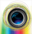 camera lens colorful background vector image vector image