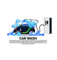 car wash service banner with cleaning vehicle over vector image