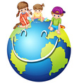 Children and happy world vector image vector image