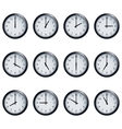 Clock set timed at each hour on white background vector image vector image