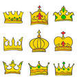 collection gold crown doodle set vector image vector image
