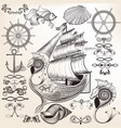 collection of calligraphic elements on sea theme vector image vector image