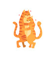 couple of cute tigers in love embracing each other vector image vector image