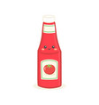 cute bottle tomato ketchup face vector image vector image