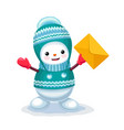 cute snowman with a letter envelope on his hand vector image vector image