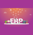 erp business concept with team people working vector image vector image