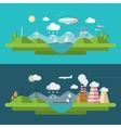 Flat design with icons of ecology green energy vector image