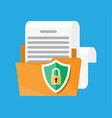 folder with document paper roll shield with lock vector image