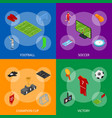 football or soccer game banner set isometric view vector image vector image