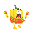 Funny cartoon yellow pepper character wearing