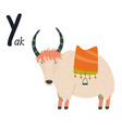 funny image yak and letter y zoo alphabet vector image