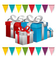 Gift Boxes and Colorful Flags vector image