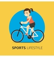 girl riding a bicycle flat vector image vector image