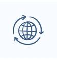 Globe with arrows sketch icon vector image vector image