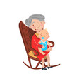 grandmother sitting with her grandson on her knees vector image