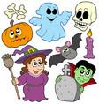 halloween cartoons collection vector image