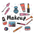 hand drawn cosmetics set vector image vector image