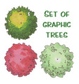 hand drawn tree top trees and bushes vector image vector image
