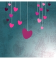 Hanging hearts on grunge vector image