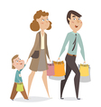 happy family with shopping bags cartoon characters vector image