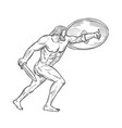 heracles with shield and sword drawing black and vector image vector image