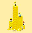 high coin tower and engineerbusinessman vector image