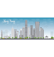 Hong Kong skyline with blue sky vector image vector image