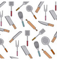 kitchen utensils colorful pattern background vector image vector image