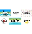 Lettering on beach picnic vacation and summer vector image vector image