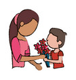 mother and son bouquet flowers vector image vector image