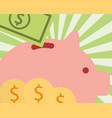 pink piggy bank banknote money coins image vector image