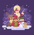 santa claus with reindeer elf snowman and dog vector image