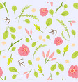 seamless pattern with leaves and pink roses vector image vector image