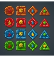 set colored stone buttons for a computer game vector image vector image