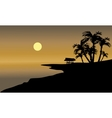 Silhouette of beach and hut vector image vector image