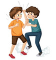 teen fighting on white background vector image vector image