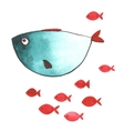 Watercolor funny fishes vector image