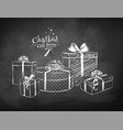 white chalk sketches of gift boxes vector image