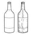 wine bottle in engraving style design element vector image
