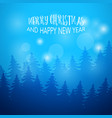 Winter background with fir forest greeting card