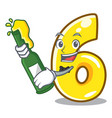 with beer number six isolated on the mascot vector image vector image