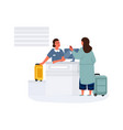 woman in airport female check-in before departure vector image vector image