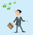 businessman look at the flying banknotes vector image