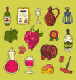 wine alcohol in winebottles of winery and vector image