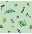Seamless pattern hand drawn camping adventure set vector image