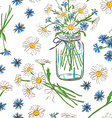 Seamless pattern with chamomile and cornflowers vector image