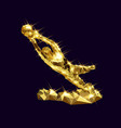 3d golden goalkeeper statue vector image