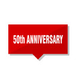 50th anniversary red tag vector image