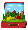 a campsite in the vintage bag vector image vector image